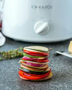 How to make the best ratatouille recipe this fall? Make it in a slow cooker, of course. Make this easy, traditional ratatouille recipe in a slow cooker and the veggies will keep all their nutrients and flavor Ratatouille Recipe With Meat, Slow Cooker Ratatouille, Traditional Ratatouille Recipe, Easy Ratatouille Recipes, Vegan Crockpot Recipes, Slow Cooker Recipes, Vegetarian Recipes, Cooking Recipes, Crockpot Dishes