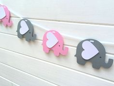Pink & Gray Elephant Garland. Baby shower, birthday party decorations by MyPaperPlanet