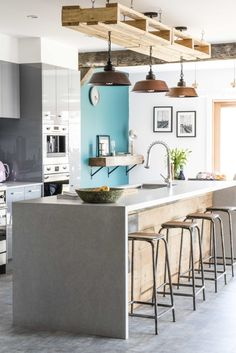 Are you watching What did you think of this week's reveal of Jared and Jess' industrial loft style home? The makeover is… Warehouse Renovation, Tv Show House, Loft Style Homes, House Rules, Industrial Loft, Kitchen Pantry, Thinking Of You, Table, Room