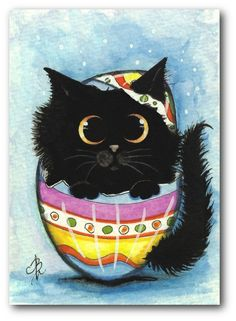 Black Fuzzy Cat Painted Easter Egg by AmyLyn BiHrLe
