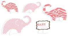 Baby on Safari Baby Shower Table Centerpieces in Pink ♥