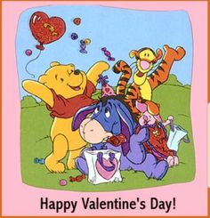 Happy v-day from pooh n friends Valentines Movies, Disney Valentines, Happy Valentines Day, Max And Roxanne, Eeyore Pictures, Eeyore Quotes, Happy V Day, Winnie The Pooh Friends, Disney Couples