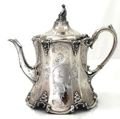 English Silver Antique Teapot - 1858.