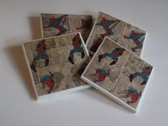 Spiderman Coaster Set by PickadillyGarden on Etsy