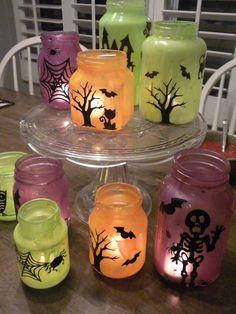 Homemade Halloween, Halloween Crafts For Kids, Diy Halloween Decorations, Kids Crafts, Girl Halloween, Holiday Crafts, Halloween Costumes, Mason Jar Candle Holders, Mason Jar Lanterns