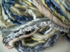 "MyMixMix on Etsy. ""Zen"" handspun art yarn of deep blue, pale straw yellow, grey kid mohair locks, wrapped cotton fabric, silk Shibori fabric, adult mohair, silk."