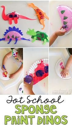 These sponge paint dinosaurs turned out so cute and incorporated lots of fine motor practice. Great for tot school, preschool, or even kindergarten!