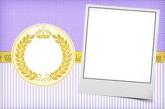 Convite, Moldura e Cartão Coroa de Princesa Lilás 1