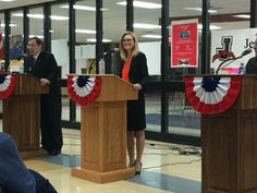 Ninth District Democratic Congressional candidate Shelli Yoder begins to debate at Jeffersonville High School.