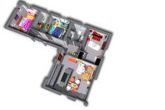 Cette maison en forme d'angle, a pour base le même intérieur que le modèle One et possède en plus dans son extension 2 chambres, reliée au reste de la maison par un hall.