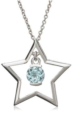 """Sterling Silver Blue Topaz Star Pendant, 18"""" - From The Amazon Curated Collection - $16.00 (SAVE 76%)  http://astore.amazon.com/lucysjewels-20/detail/B000SMMH60"""