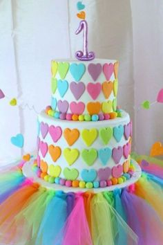 1st Birthday Cake Ideas for Girls bright hearts