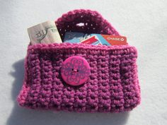 Purse Pouch in Pink and Fuchsia Business by crochetedbycharlene