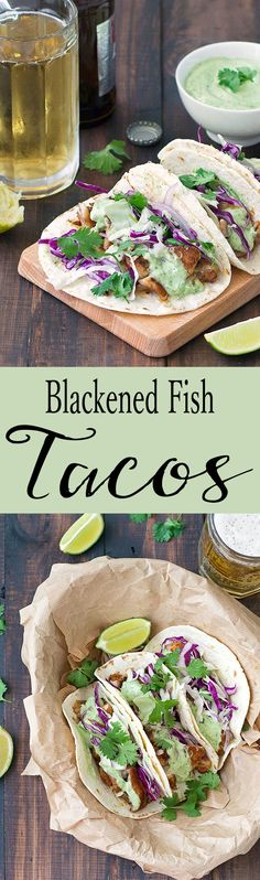 These blackened fish tacos come together in under 30 minutes and make a delicious weeknight meal. Spiced white fish is folded into warm tortillas, topped with shredded red cabbage and drizzled with a creamy avocado sauce. You can make this easy recipe wit Seafood Recipes, Mexican Food Recipes, Cooking Recipes, White Fish Recipes, Tilapia Recipes, Diet Recipes, Weeknight Meals, Easy Meals, Blacken Fish