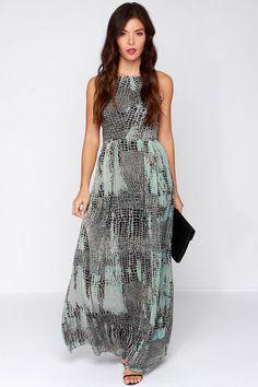 Grey and Black Print Maxi Dress