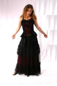 Gothic Satin & Lace Skirt. Gothic Full Length Tiered Satin/Net Skirt. 5 Colours available.~78-1422