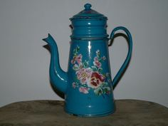 ANTIQUE VINTAGE FRENCH BLUE FLORAL SHABBY CHIC ENAMEL WARE COFFEE POT cafetiere