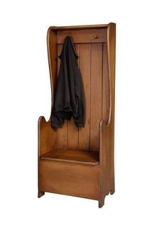 Honey Brook Settle Bench Create a warm welcome in entryway with a Honey Brook. Solid wood construction with room to hang coats and bags along with a cute bench seat. #entryway