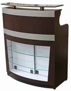 Reception desk featuring beautiful granite countertop, retail display case made of heavy duty acrylic and two glass shelves, sliding door to access the display case, and two locking drawers. CCI Beauty has been selling quality hair salon and spa equipment