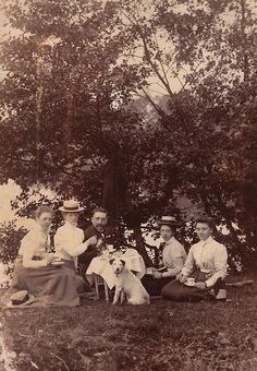 Edwardian picnic and a cute little dog.