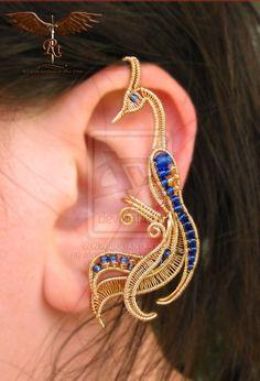 golden bird ear cuff by alina-loreley.deviantart.com on @deviantART