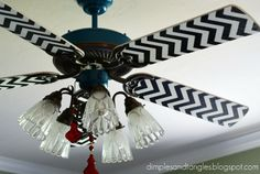 ceiling fan makeover: Dimples and Tangles: Sassy Ceiling Fans Painting Ceiling Fans, A Thoughtful Place, Ceiling Fan Makeover, Ceiling Fan Blades, Diy Fan, Home Lighting, House Colors, Diy Home Decor, Sweet Home
