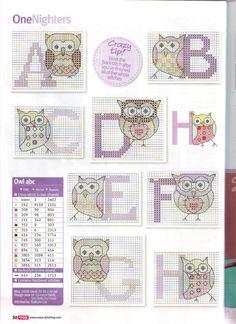 Eule Eulen Owl Alphabet cross stitch Gallery.ru / Фото #8 - 4 - KIM-3