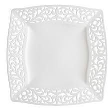 Make your kitchen and dining experience great with the White Pierced Square Side Plates - set of 10 . You can purchase this, and find other affordable Party Supplies & Entertaining, at your local At Home store. Dinner Plate Sets, Dinner Plates, Party Plates, Alice Tea Party, Plastic Dinnerware, Wedding Plates, Wedding Table, Disposable Plates, Square Plates