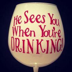 DIY christmas wine glasses