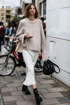 beige camel sweater top white midi skirt black boots