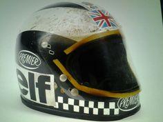 Phil Read 1974 champion Premier helmet (500cc-MV agusta) Retro Cafe, Mv Agusta, Riding Gear, Helmets, Champion, Motorcycles, Bike, Bicycle Kick, Trial Bike