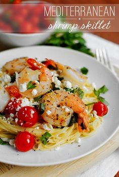 Mediterranean Shrimp Skillet. This easy weeknight dinner incorporating delicate angel hair pasta with the fresh, simple Mediterranean flavors of basil, tomato, spinach, lemon, and feta cheese is ridiculously quick, and totally satisfies.