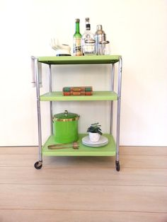 Vintage Metal Rolling Bar Cart ~ Mid Century Three Tier Utility Rolling Kitchen Cart ~ Bar Cart ~ Plant Stand Lime Green
