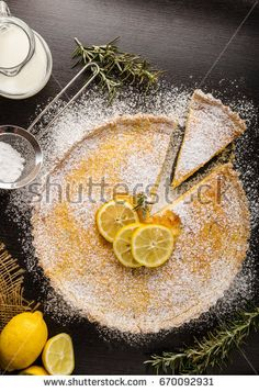Delish leamon tart, delicious dessert, place for text