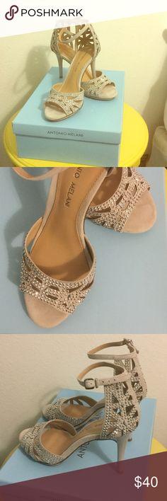Antonio Melani Heels Chalk color beaded strap heel. Only worn once. In great condition minor wear on sole of shoe. ANTONIO MELANI Shoes Heels
