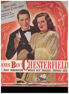 Perry Como and Jo Stafford in 1947 Chesterfield Cigarettes Ad #Chesterfield