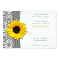 Damask RSVP Wedding Invitations Sunflower Yellow Grey Damask Wedding RSVP Reply Card