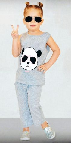 Adorable Pokerfaced Panda outfit from our children's clothing collection @ Lilfirefly.com! It has a panda on the back too!!  #kidsfashion