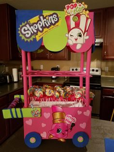 My first attempt to make a candy cart. Shopkins themed birthday party.