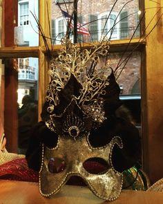#Silver and #black #handmade #mask #masquerade at #Maskarade #MardiGras #art #costume #cosplay #frenchquarter #neworleans #glamour #nola #visualmerchandising #visualart #windowdisplay #followme by maskarade_nola