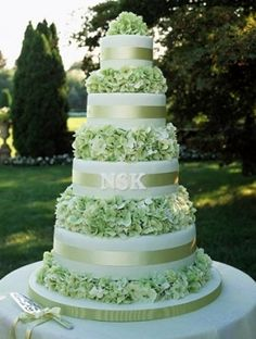 Green Hydrangea Cake: add red & white anemones, no ribbon, and buttercream texture