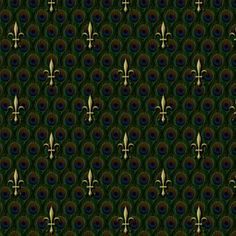 large fleur de lis on peacock feathers fabric by glimmericks on Spoonflower - custom fabric