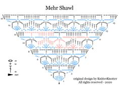 Mehr Shawl - Free crochet pattern for a delicate lace shawl with a lovely drape. Tunisian Crochet Free, Crochet Shawl Diagram, Crochet Shawl Free, Crochet Squares Afghan, Crochet Shell Stitch, Crochet Triangle, Crochet Chart, Crochet Scarves, Crochet Cross