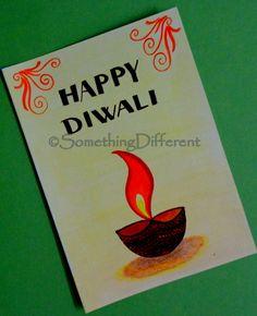 Diwali Greeting card Diwali Cards, Diwali Greeting Cards, Diwali Greetings, Greeting Cards Handmade, Drawing For Kids, Drawing Ideas, Diwali Festival, Happy Diwali, Card Ideas