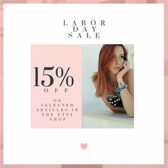Labor day sale, 15% OFF on selected earrings, necklaces, bracelets and jewelry sets in the shop.  The offer will expire on 4th september at midnight🕛🌓 Check it out now before it's too late❣💖🌝