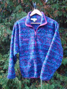 97c731561a 90s Columbia Fleece Pullover Vintage Fleece Aztec Color Pastel Purple Blue  Jacket Fleece Size Medium