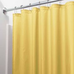 InterDesign Waterproof Fabric Shower Curtain Liner, Standard 72 inch x 72 inch, Yellow