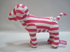 Victoria Secret HORIZONTAL Pink White Striped Puppy Dog Plush Stuffed Animal  bonanza.com (better than ebay)