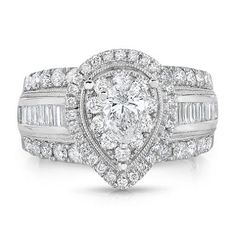 1.95 CT. T.W. Regal Engagement Ring in 14K White Gold - Sam's Club