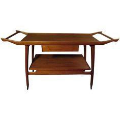 Wooden Danish Bar Serving Cart in the Style of Tove & Edvard Kindt-Larsen, 1950s | 1stdibs.com